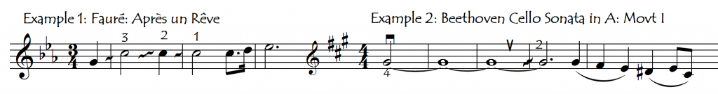 fingerings expressive gliss same note and string