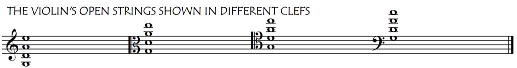 violin open strings clefs