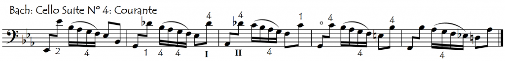 courante IV one string scales