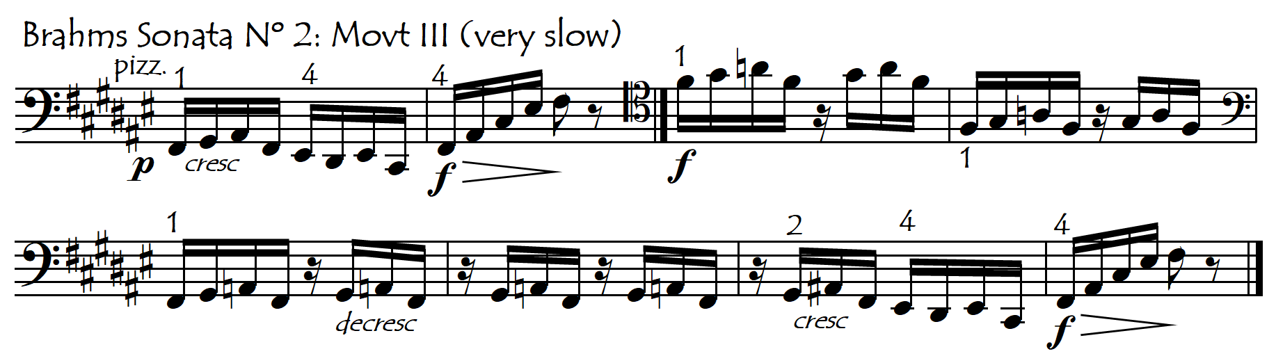 Brahms F slow pizz melody