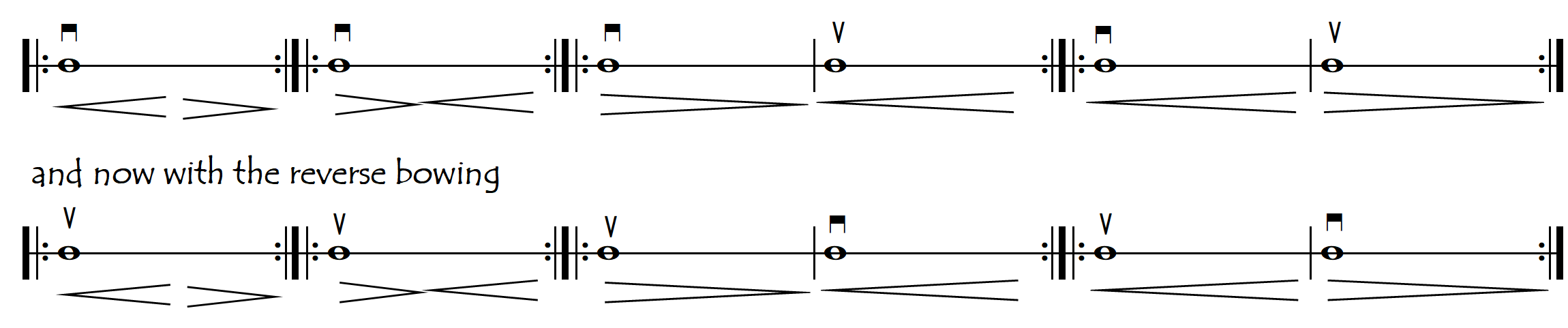 point of contact long bows one note ebb and surge
