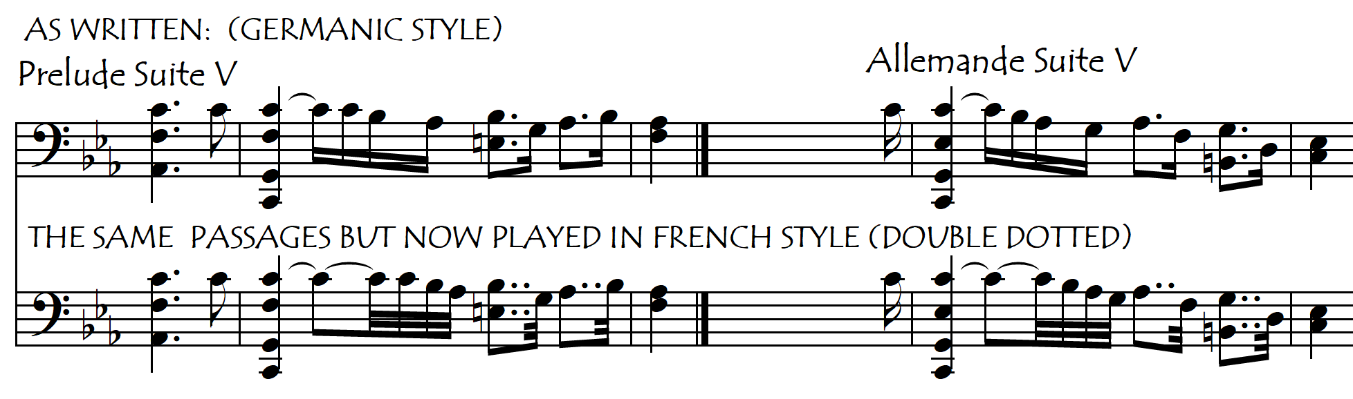 bach V dotted and double dotted
